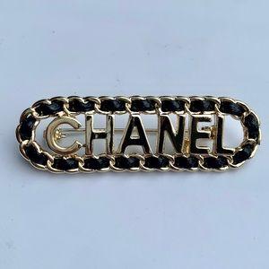Authentic CHANEL Lambskin Leather Brooch